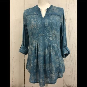 Vintage America Pintuck Tunic Top Blouse